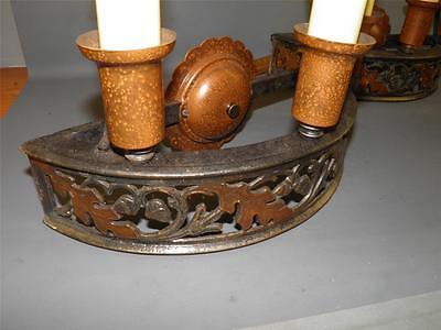 Antique Bronze Gothic Arts& Crafts Pr Sconces Lights Cold Painted Acorns Shield 10