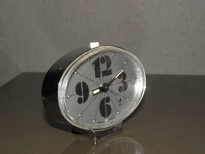vintage clock alarm jaz retro desk  Art Deco design 70 FASHION pop Mechanics uhr 5