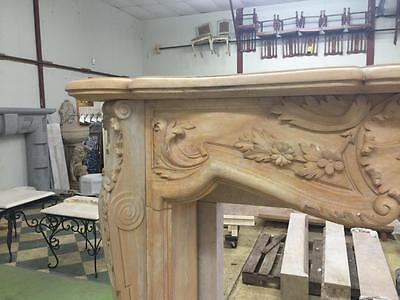 Beautiful Large Hand Carved Marble Estate  French Style Fireplace Mantel - Jd605 4