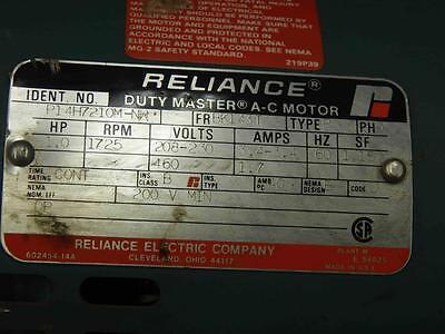 Reliance B81S2088M AH 1hp 230//460v-ac 1725rpm Fc56p Motor W// Brake