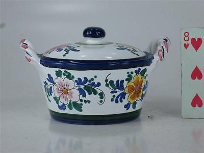 Art Pottery Italy Hand Painted JELLY JAM POT Spoon Slotted lid  Finial Handle 4