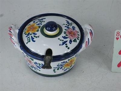 Art Pottery Italy Hand Painted JELLY JAM POT Spoon Slotted lid  Finial Handle 8