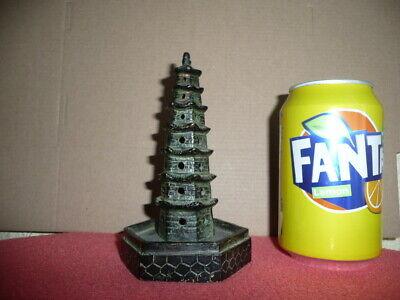Antique Small Cast Bronze Chinese Temple,Pagoda,Sticks Incense Burner,NicePatina 3