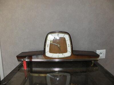 vintage mantel wood clock CHIMING HERMLE Electro-Mechanical Battery art deco vtg 4