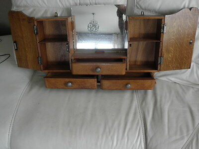 Vintage Shelf stand Cabinet Cupboard Furniture Makeup Storage Mirror old wood 5