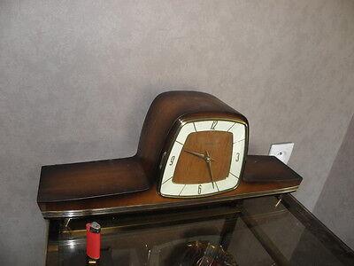 vintage mantel wood clock CHIMING HERMLE Electro-Mechanical Battery art deco vtg 10
