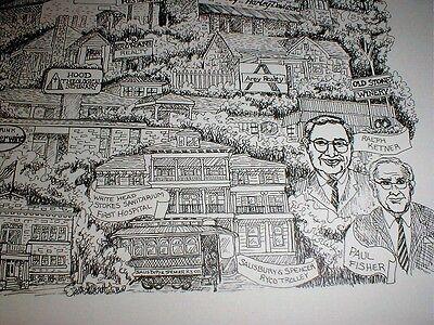 Salisbury NC 2009 city b/w art print Cheerwine cola Ralph Ketner Elizabeth Dole