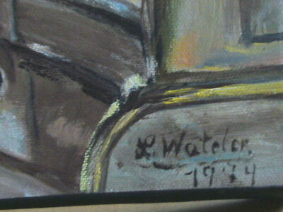 L. Wateler Wandbild Ol auf Leinwand Junge Große Augen Paris 25 x 45cm
