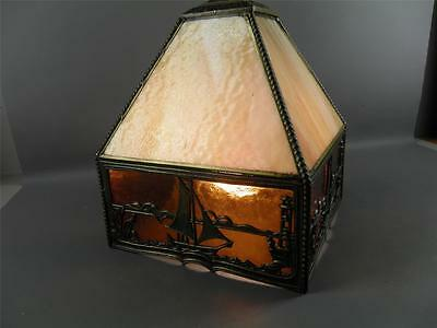 Antique Chinoiserie Slag Glass Nautical Sail Boats Hanging Light Fixture 7
