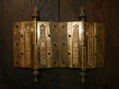 Matched Pair Circa 1876 Cast Bronze  Hinges By Corbin Left Hand 4
