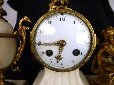 N552 Antique French Japy Freres 8 Day White Marble Clock Garniture Urn Set 7