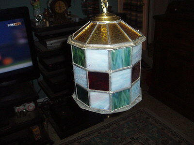 Vintage Hand Made Stained Glass 10 Sided Swag Light Fixture (Needs Cord) ! 4