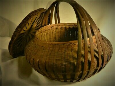 Antique Fine Lrg Covered Chinese Japanese  IKEBANA Woven Intricate Asian BASKET 9