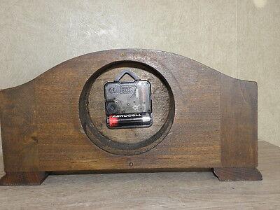vintage wood clock  Electro-Mechanical Battery art deco vtg retro old carved 5