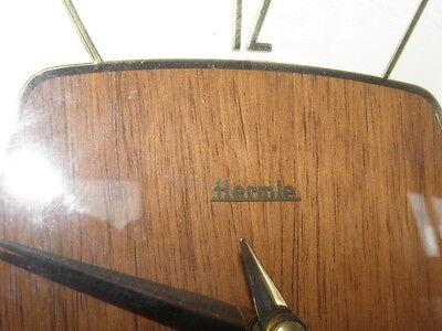 vintage mantel wood clock CHIMING HERMLE Electro-Mechanical Battery art deco vtg 6