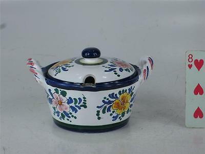 Art Pottery Italy Hand Painted JELLY JAM POT Spoon Slotted lid  Finial Handle 9