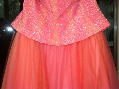 Le Gala Mon Cheri Tony Bowls Organza Beaded High Low Pink Metallic Dress NWT 6