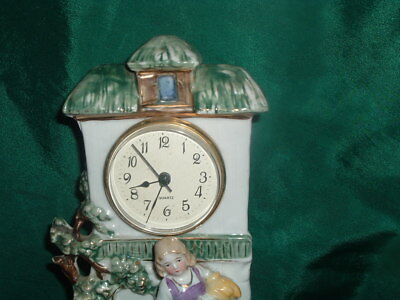Antique Colorful Porcelain Clock With Dog And Girl 3