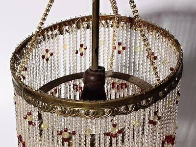 Vintage Czech double layer glass fringe beaded gold tone ceiling chandelier 5