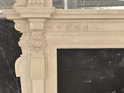 Large Estate Hand Carved Fireplace Mantel - Fireplace Mantel - Monumental Mantel 6