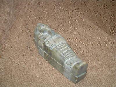 Rare Egyptian Ushabti Stone Coffin Mummy Burial Sarcophogus With Mummy Inside 3