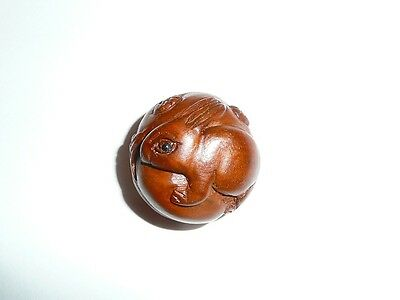"""Wonderfully Detailed Hand Carved HIPPO Boxwood Round Button 1/"""" Diameter"""