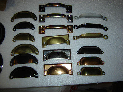 6  vintage drawer pulls bin cup handle dull brass finish steel 3-1/2