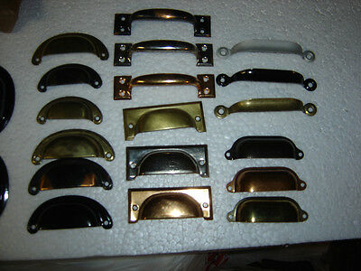 6 vintage drawer pulls bin cup handle dull brass finish steel # 4301 5