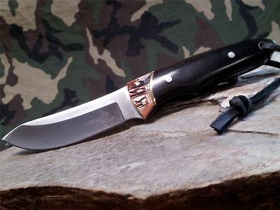 """Elk Ridge Fixed Blade Jig Bone & Black Wood 7"""" Knife Full Tang Blade Hunting 088 2"""