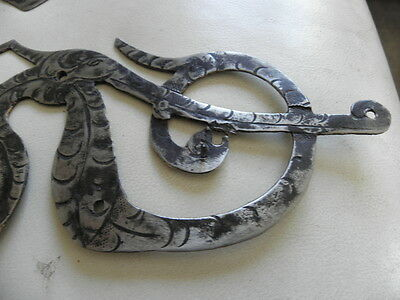 Antique Wrought Cast Iron Door Strap Hinges Baroque Door ornate old no copie 17 10