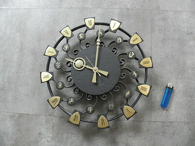 large WALL CLOCK, WROUGHT IRON RETRO VINTAGE MID CENTURY selva sgn horoscope old