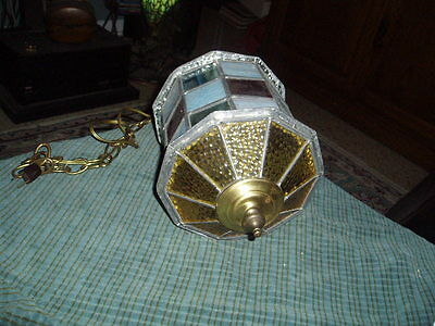 Vintage Hand Made Stained Glass 10 Sided Swag Light Fixture (Needs Cord) ! 3