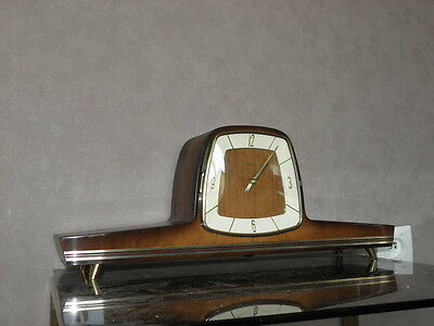 vintage mantel wood clock CHIMING HERMLE Electro-Mechanical Battery art deco vtg
