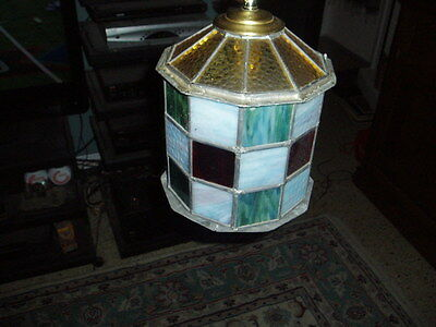 Vintage Hand Made Stained Glass 10 Sided Swag Light Fixture (Needs Cord) ! 5