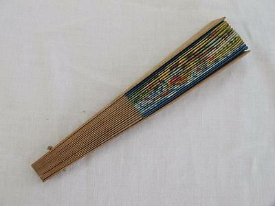 VINTAGE 1940's CHILDREN'S PRINTED WOOD HAND FAN - NATIVE AMERICAN'S in CANOE