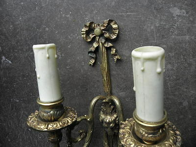 antique WALL SCONCE BRONZE old SCULPTURES LUXURIOUS French Gilt Cast lights Pair 10
