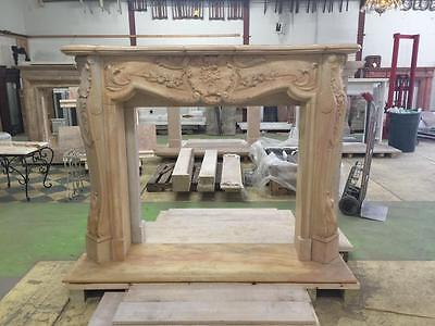 Beautiful Large Hand Carved Marble Estate  French Style Fireplace Mantel - Jd605 2