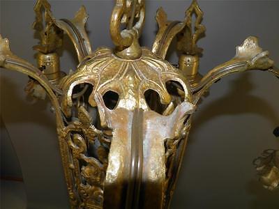 Ornate Heavy Brass Figural Knights Spanish Revival Gothic Tudor Chandelier Light 10
