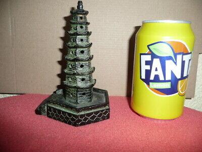 Antique Small Cast Bronze Chinese Temple,Pagoda,Sticks Incense Burner,NicePatina 4