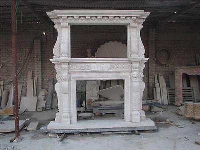 Large Estate Hand Carved Fireplace Mantel - Fireplace Mantel - Monumental Mantel 2