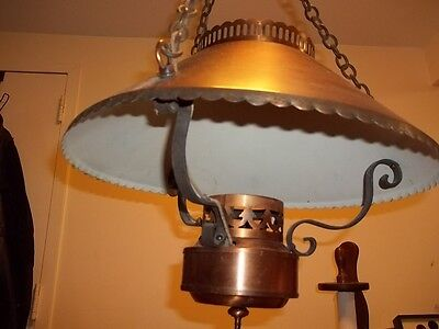 antique the feldman co. hanging brass or copper lamp 5
