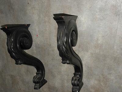 Old Feet Base Table Shelf Corbel Pediment Ornate Architectural Carved Dark Wood 8