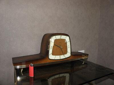 vintage mantel wood clock CHIMING HERMLE Electro-Mechanical Battery art deco vtg 8