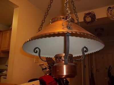 antique the feldman co. hanging brass or copper lamp 6