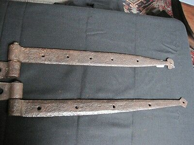TWO Early 19c Hand Blacksmith Forged Iron Door Hinges Hammered Finished c1830 2