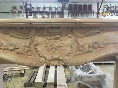 Beautiful Large Hand Carved Marble Estate  French Style Fireplace Mantel - Jd605 3