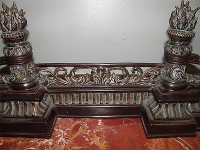 Ornate Bronze Figural Mythological Fireplace Fender Chenet 8