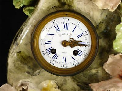 N621 Antique 19Th Century French Barbotine Ceramic Clock Raised Flowers 3