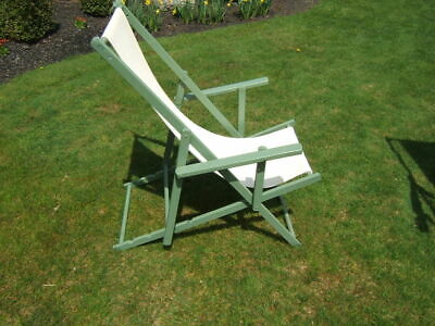 3 Vintage Painted Mahogany Seaside Canvas Lounging Chairs 7