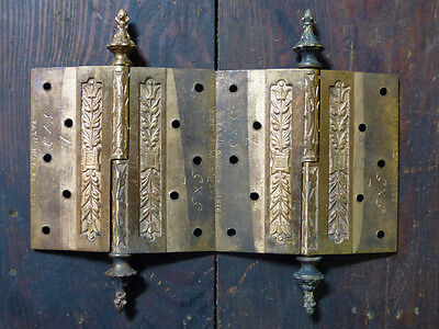 Matched Pair Circa 1876 Cast Bronze  Hinges By Corbin Left Hand 6